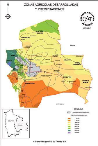 Zonas Agrícolas Desarrolladas y Precipitaciones en Bolivia