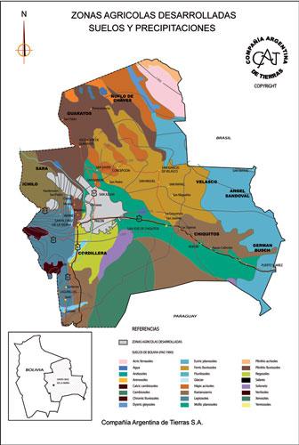 Zonas Agrícolas Desarrolladas - Suelos y Precipitaciones en Bolivia