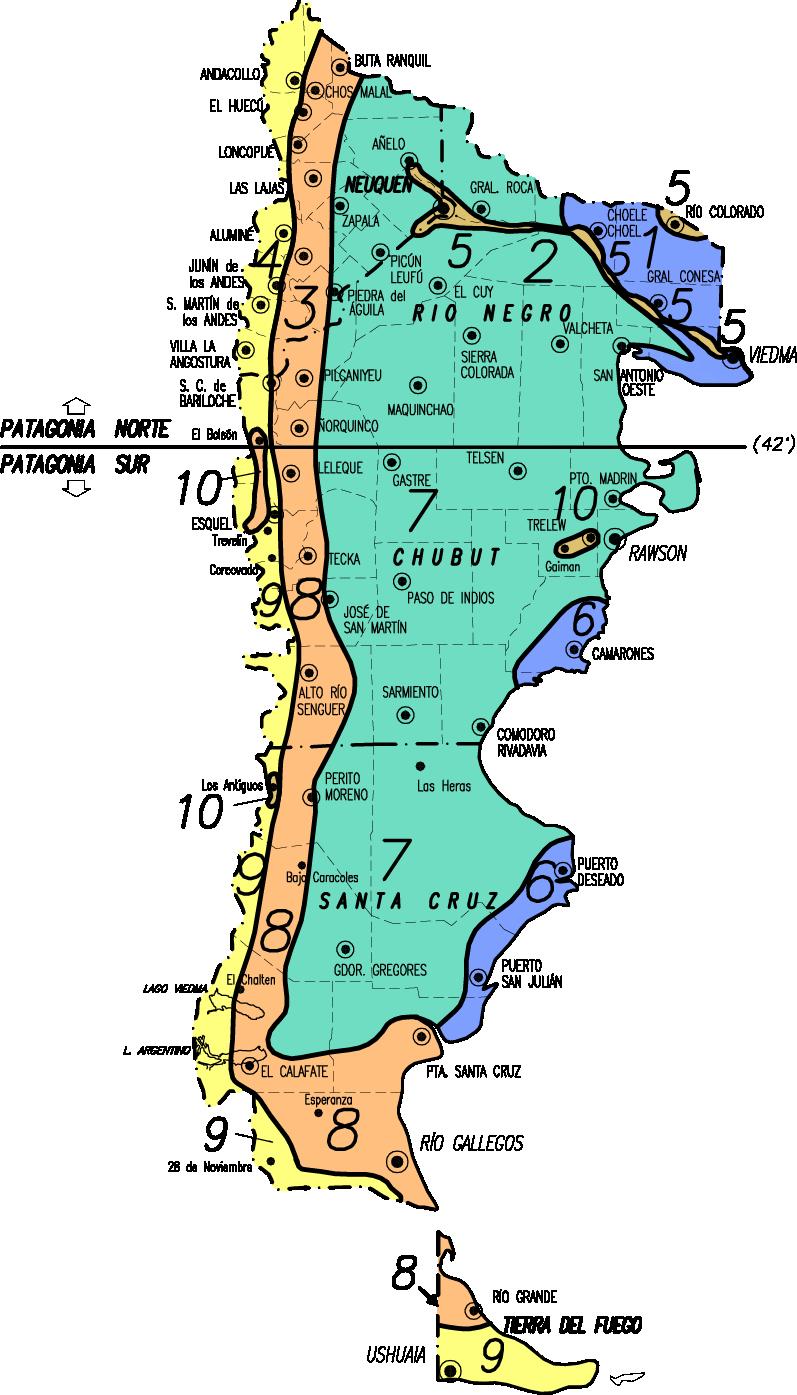 Zonas por valores de la Patagonia