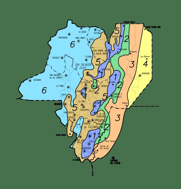Zonas por valores del Noroeste Argentino