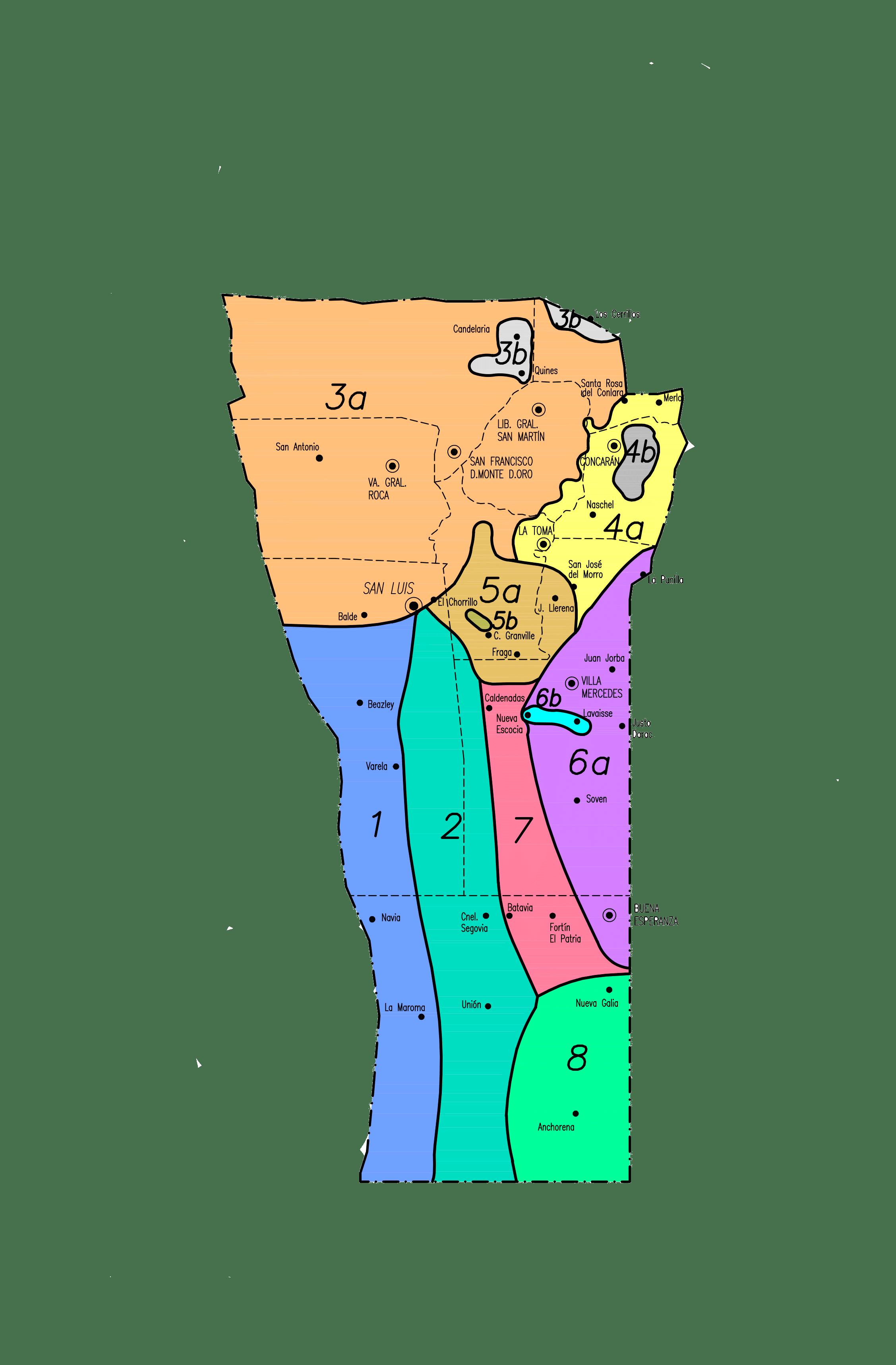 Zonas por valores de la Provincia de San Luis